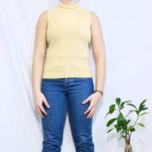 Yellow Dressbarn Sleeveless Cutoff Turtleneck